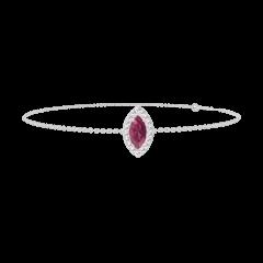 Bracelet Create 200556 Or blanc 9 carats - Rubis Marquise 0.3 carat - Halo Diamant - Chaîne FORCAT