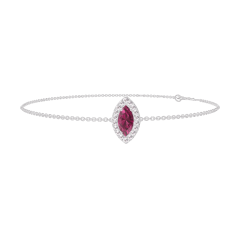 Bracelet Create 200556 White gold 9 carats - Ruby Marquise 0.3 Carats - Halo Diamond white - Chain FORCAT