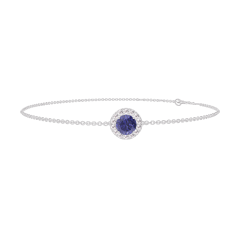 Bracelet Create 200588 White gold 9 carats - Blue Sapphire round 0.3 Carats - Halo Diamond white - Chain FORCAT