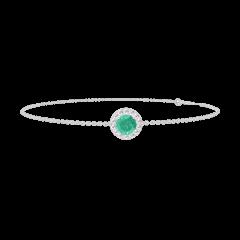 Bracelet Create 200779 Or blanc 18 carats - Émeraude Rond 0.3 carat - Halo Diamant - Chaîne FORCAT
