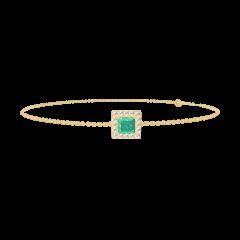 Bracelet Create 200810 Or jaune 9 carats - Émeraude Princesse 0.3 carat - Halo Diamant - Chaîne FORCAT