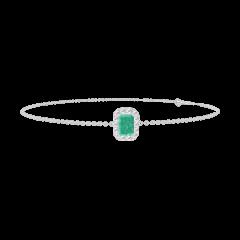 Bracelet Create 200843 Or blanc 18 carats - Émeraude Rectangle 0.3 carat - Halo Diamant - Chaîne FORCAT