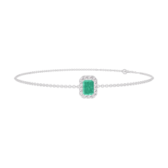 Bracelet Create 200844 White gold 9 carats - Emerald Baguette 0.3 Carats - Halo Diamond white - Chain FORCAT