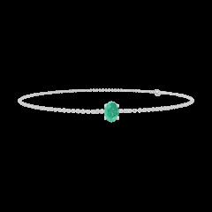Bracelet Create 200868 Or blanc 9 carats - Émeraude Ovale 0.3 carat - Chaîne FORCAT