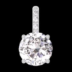 Ciondolo Create 202407 Oro bianco 18 carati - Diamante rotondo 0.3 Carati - Incastonatura Diamante - Nessuna catenella