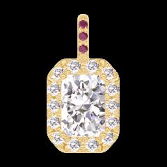 Ciondolo Create 202841 Oro giallo 18 carati - Diamante Rettangolo 0.3 Carati - Halo Diamante - Incastonatura Rubino - Nessuna catenella