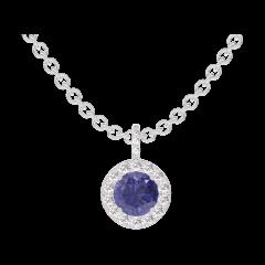 Ciondolo Create 205928 Oro bianco 9 carati - Zaffiro blu Rotondo 0.3 Carati - Halo Diamante - Incastonatura Diamante - Catena FORCAT