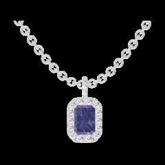 Ciondolo Create 206312 Oro bianco 9 carati - Zaffiro blu Rettangolo 0.3 Carati - Halo Diamante - Incastonatura Diamante - Catena FORCAT