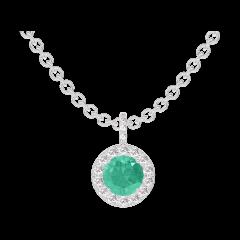 Ciondolo Create 207080 Oro bianco 9 carati - Smeraldo Rotondo 0.3 Carati - Halo Diamante - Incastonatura Diamante - Catena FORCAT