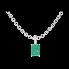 Ciondolo Create 207416 Oro bianco 9 carati - Smeraldo Rettangolo 0.3 Carati - Incastonatura Diamante - Catena FORCAT