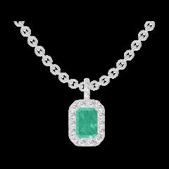 Ciondolo Create 207464 Oro bianco 9 carati - Smeraldo Rettangolo 0.3 Carati - Halo Diamante - Incastonatura Diamante - Catena FORCAT
