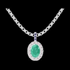 Ciondolo Create 207680 Oro bianco 9 carati - Smeraldo Ovale 0.3 Carati - Halo Diamante - Incastonatura Zaffiro blu - Catena VENITIENNE