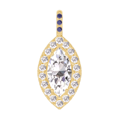 Colgante Create 203421 Oro amarillo 18 quilates - Diamante Marquesa 0.3 quilates - Halo Diamante - Engastado Zafiro azul -