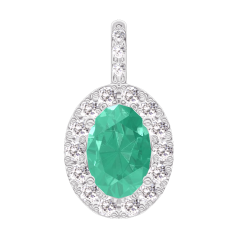 Colgante Create 207640 Oro blanco 9 quilates - Esmeralda Ovalo 0.3 quilates - Halo Diamante - Engastado Diamante -