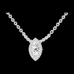 Collana Create 201803 Oro bianco 18 carati - Diamante di laboratorio Marchesa 0.3 Carati - Halo Diamante - Catena FORCAT