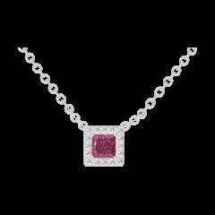 Collar Create 201867 Oro blanco 18 quilates - Rubí Princesa 0.3 quilates - Halo Diamante - Cadenas FORCAT