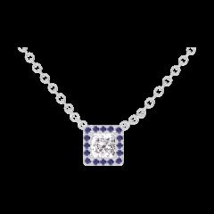 Collier Create 201499 Or blanc 18 carats - Diamant Princesse 0.3 carat - Halo Saphir bleu - Chaîne FORCAT