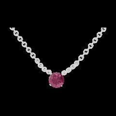 Collier Create 201828 Or blanc 9 carats - Rubis Rond 0.3 carat - Chaîne FORCAT