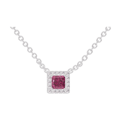 Collier Create 201868 Or blanc 9 carats - Rubis Princesse 0.3 carat - Halo Diamant - Chaîne FORCAT