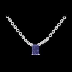 Collier Create 202084 Or blanc 9 carats - Saphir bleu Rectangle 0.3 carat - Chaîne FORCAT