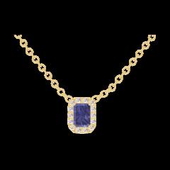 Collier Create 202090 Gelbgold 375/-(9Kt) - Blauer Saphir Rechteckig 0.3 Karat - Halo Diamant - Kette FORCAT