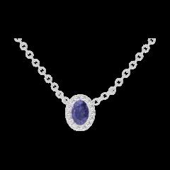 Collier Create 202124 Or blanc 9 carats - Saphir bleu Ovale 0.3 carat - Halo Diamant - Chaîne FORCAT