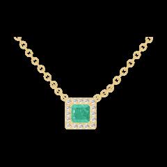 Collier Create 202250 Or jaune 9 carats - Émeraude Princesse 0.3 carat - Halo Diamant - Chaîne FORCAT