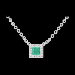 Collier Create 202252 Or blanc 9 carats - Émeraude Princesse 0.3 carat - Halo Diamant - Chaîne FORCAT