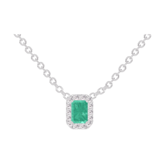 Collier Create 202284 Or blanc 9 carats - Émeraude Rectangle 0.3 carat - Halo Diamant - Chaîne FORCAT