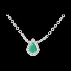 Collier Create 202348 Or blanc 9 carats - Émeraude Poire 0.3 carat - Halo Diamant - Chaîne FORCAT