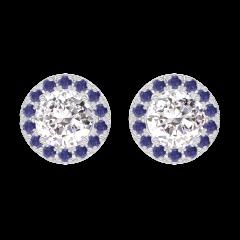 Earrings Create 200975 White gold 18 carats - Diamond white round 0.3 Carats (2 X) - Halo Blue Sapphire