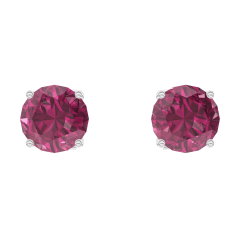 Earrings Create 201156 White gold 9 carats - Ruby Round 0.3 Carats (2 X)