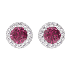 Earrings Create 201160 White gold 9 carats - Ruby round 0.3 Carats (2 X) - Halo Diamond white