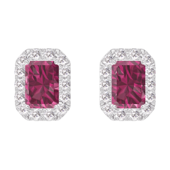 Earrings Create 201192 White gold 9 carats - Ruby Baguette 0.3 Carats (2 X) - Halo Diamond white