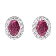 Earrings Create 201208 White gold 9 carats - Ruby Oval 0.3 Carats (2 X) - Halo Diamond white