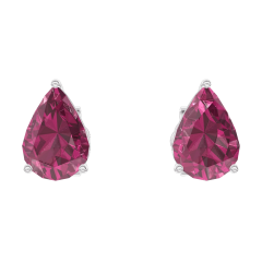 Earrings Create 201220 White gold 9 carats - Ruby Pear 0.3 Carats (2 X)