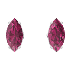 Earrings Create 201236 White gold 9 carats - Ruby Marquise 0.3 Carats (2 X)