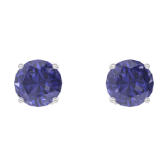 Earrings Create 201252 White gold 9 carats - Blue Sapphire round 0.3 Carats (2 X)