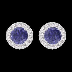 Earrings Create 201256 White gold 9 carats - Blue Sapphire round 0.3 Carats (2 X) - Halo Diamond white