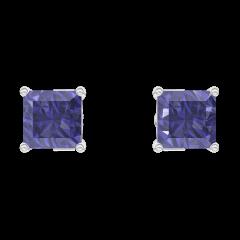 Earrings Create 201268 White gold 9 carats - Blue Sapphire Princess 0.3 Carats (2 X)