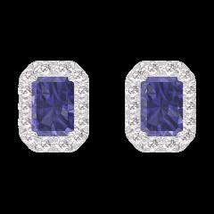 Earrings Create 201288 White gold 9 carats - Blue Sapphire Baguette 0.3 Carats (2 X) - Halo Diamond white
