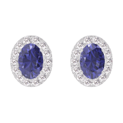 Earrings Create 201304 White gold 9 carats - Blue Sapphire Oval 0.3 Carats (2 X) - Halo Diamond white