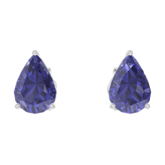 Earrings Create 201316 White gold 9 carats - Blue Sapphire Pear 0.3 Carats (2 X)
