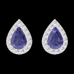Earrings Create 201320 White gold 9 carats - Blue Sapphire Pear 0.3 Carats (2 X) - Halo Diamond white