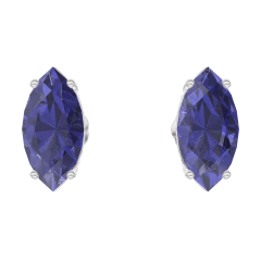 Earrings Create 201332 White gold 9 carats - Blue Sapphire Marquise 0.3 Carats (2 X)