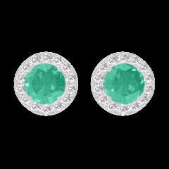 Earrings Create 201352 White gold 9 carats - Emerald round 0.3 Carats (2 X) - Halo Diamond white