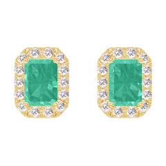 Earrings Create 201382 Yellow gold 9 carats - Emerald Baguette 0.3 Carats (2 X) - Halo Diamond white