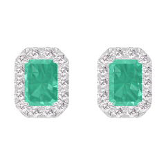Earrings Create 201384 White gold 9 carats - Emerald Baguette 0.3 Carats (2 X) - Halo Diamond white