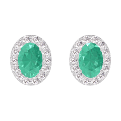 Earrings Create 201400 White gold 9 carats - Emerald Oval 0.3 Carats (2 X) - Halo Diamond white