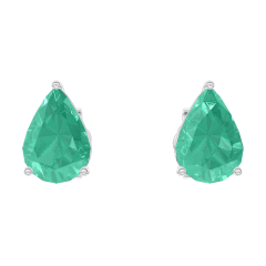 Earrings Create 201412 White gold 9 carats - Emerald Pear 0.3 Carats (2 X)